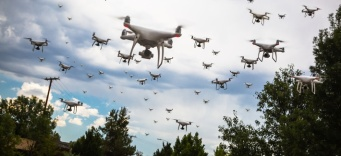 A whole lot of drones in the sky above trees