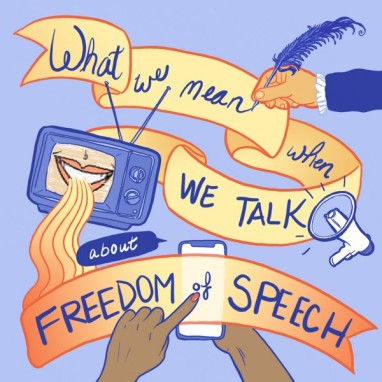 "Image of hands writing, in quill pen and on a mobile screen, ""What we mean when we talk about freedom of speech"""